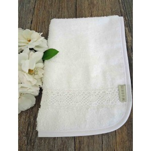 Guest Towel, towelling with french lace trim.
