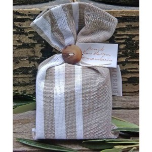 Bath Soap French Lime Blossom et Mandarin 115g in St. Jean de Luz Taupe  fabric Bag