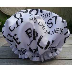Shower Cap,  Black & White Famous Cities Design