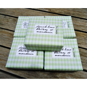 Bath Soap French Lime Blossom et Mandarin  Apple Gingham Paper Packaging